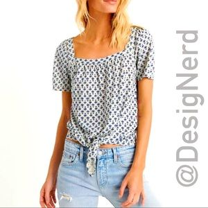 LUCKY BRAND PRINTED TIE FRONT TOP 7W64715